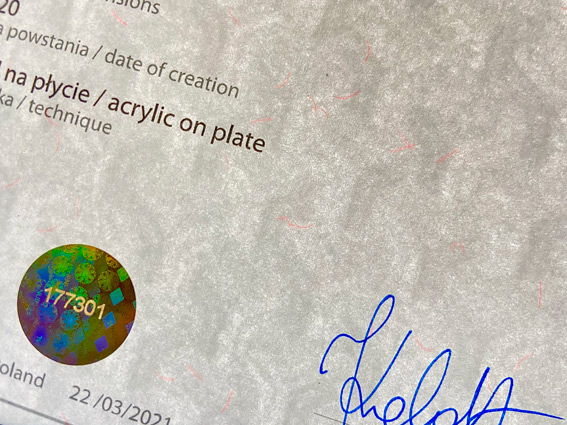 CERTIFICATE OF AUTHENTICITY FOR THE WORK OF ART